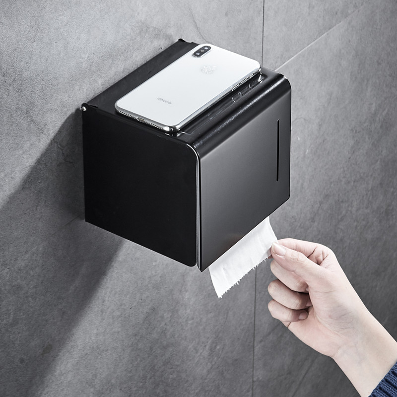 Toilet Paper Holder Matte Black Aluminum Bathroom Roll Paper Wall Mounted Mobile Phone Rack Paper Towel Holder Toilet Tissue Box
