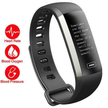 f1a7a2fe7826 Reloj pulsera de Fitness inteligente HR/BP 50 letras/presión  arterial/Monitor de ritmo cardíaco Cardiaco para IOS /Xiaomi/Honor PK mi  banda 3/S4