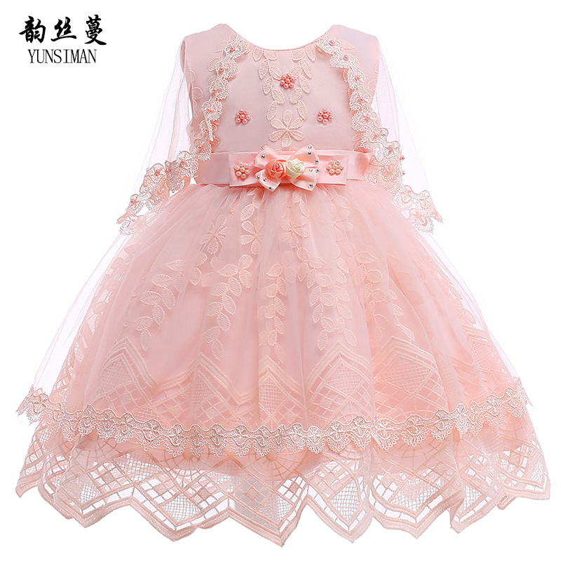 New Brand Baby Girls Dress for Wedding and Party Size 4 6 8 10 Years High Grade Flower Embroidery Lace Kids Princess Dress 6B07 baby girls dress 2016 new brand summer white blue high grade embroidered princess dress 2 8 years for girls kids clothes