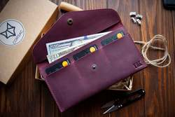 Monogram leather envelope  Personalized leather wallet Travel ticket case  Leather envelope mini clutch, Leather money envelope