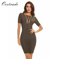 Ocstrade Runway New Spring 2017 Women Olive Green Lace Up Party Bodycon Bandage Dress Rayon High