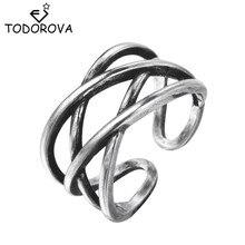 Todorova Vintage Punk doble hueco X Cruz Midi Punta del dedo anillos para nudillos anillos ajustable joyería de dedo para mujeres y hombres