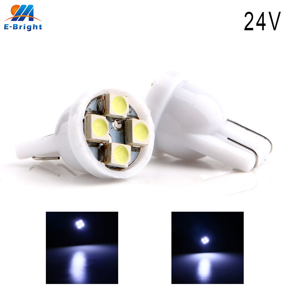 100-1000pcs 24VDC T10 1210 4 W5W 194 168 Branco SMD Lâmpadas LED Auto Luzes Instrumento Luzes de Leitura luzes de Porta do carro