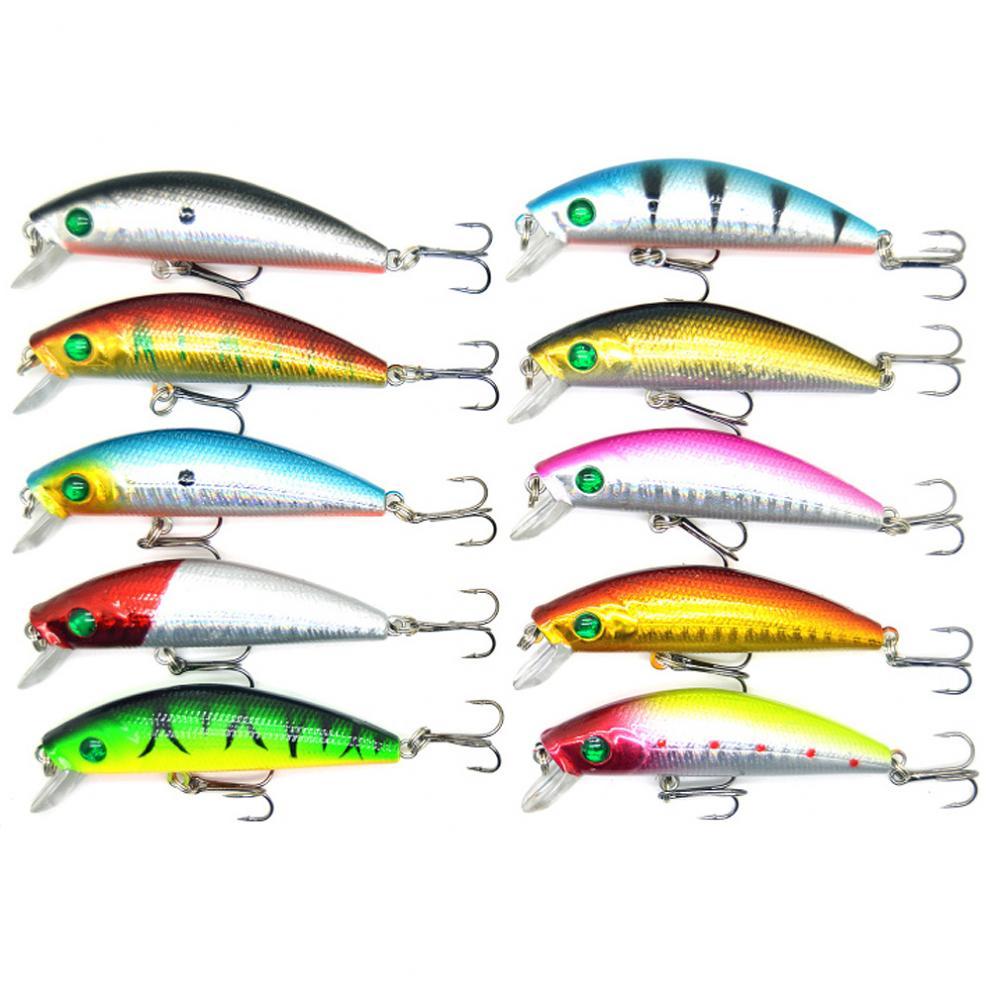 10pcs//lot 7cm 8.5g Minnow Artificial Hard Fishing Lure Laser Crankbait Hard Bait