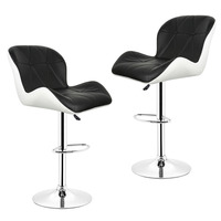 2pcs Leisure Synthetic Leather Swivel Bar Stools Chairs Height Adjustable Pneumatic Pub Chair 3 Colors