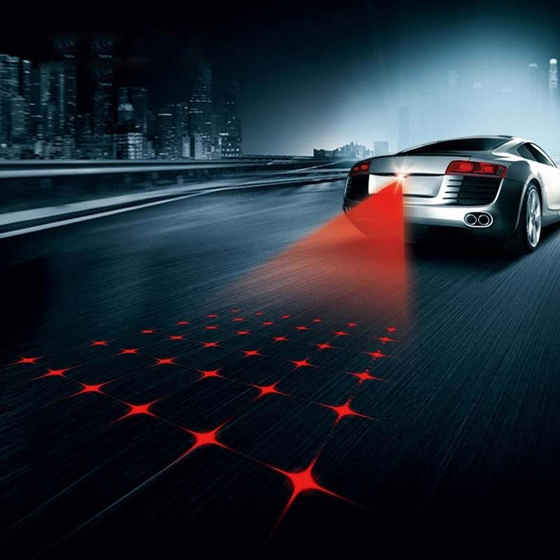 SUNKIA Neue Muster Anti Kollision Hinten-ende Auto Laser Schwanz Nebel Licht Auto Brems Parkplatz Lampe Aufzucht Warnung Licht auto Styling