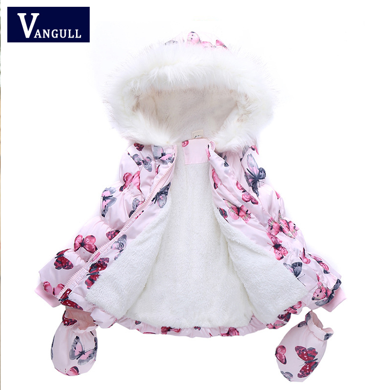 LSK High Quality Fashion Girls Winter Coat + <font><b>Gloves</b></font> 2pcs Set Butterfly Hooded Zipper Fleeced Baby Girl Winter Jacket 2015 brand