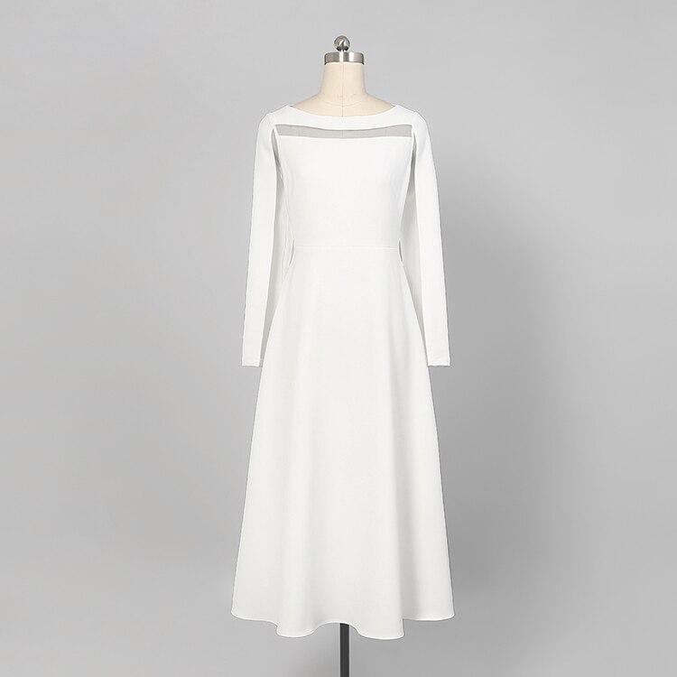18 Fashion Autumn Ladies Solid Mid-calf A-Line Dress O-Neck Long Sleeve Persperctive Dress Women High Waist A-Line Dress C1818 5