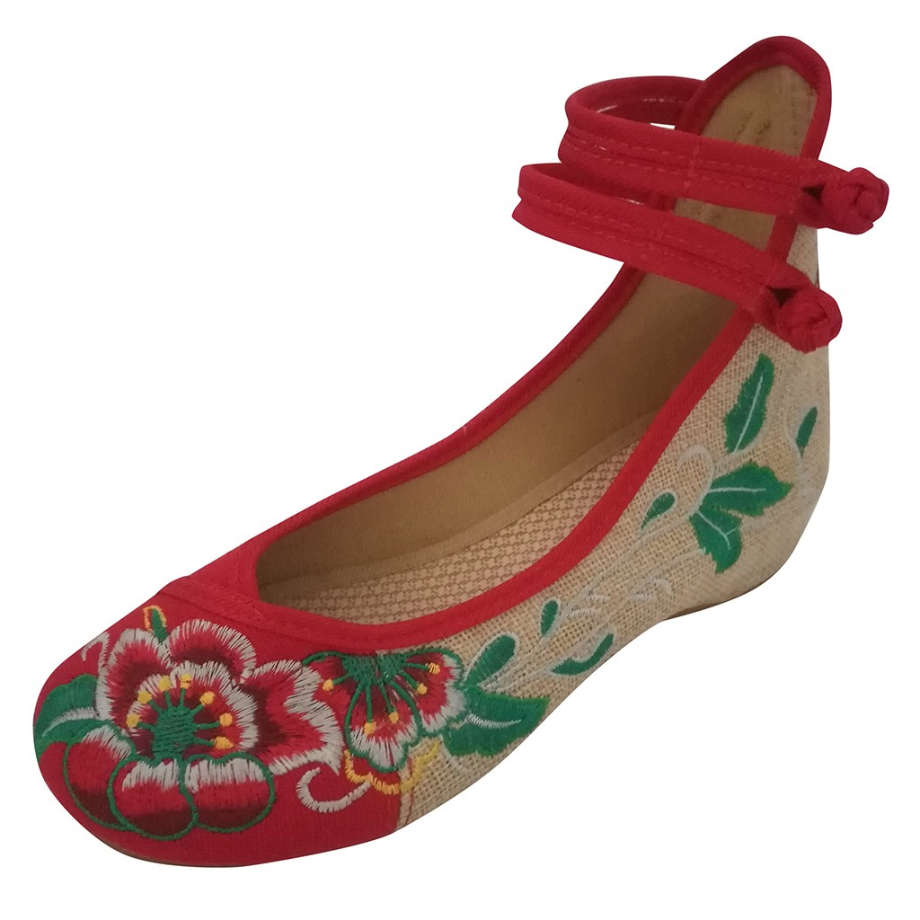 Embroidery Shoes Ballet Flats Canvas Comfortable Chinese Vintage Women's Ladies Zapatos-Mujer