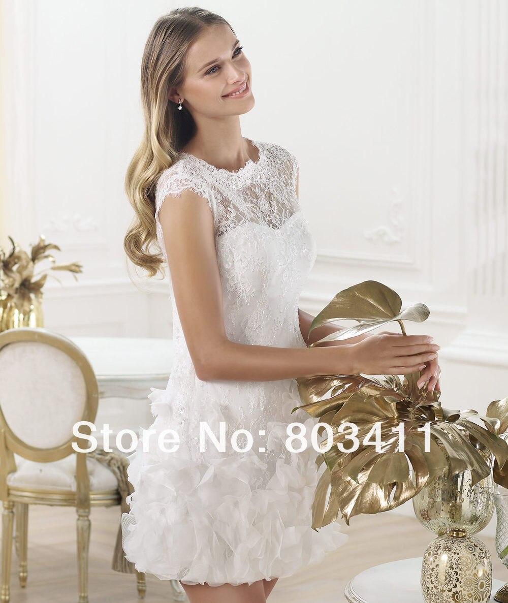 Sheath Cap Sleeve Lace Short Reception Wedding Dress