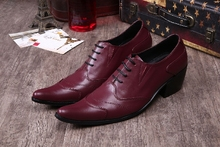 Fashion 2020 Genuine Leather Men Wedding Shoes Lace Up Casual Oxfords Wine Red Pointed Toe Men's Formal Shoes Big Size13 pjcmg fashion black red wine lace up pointed toe striped decoration genuine leather business formal casual oxfords shoes for man