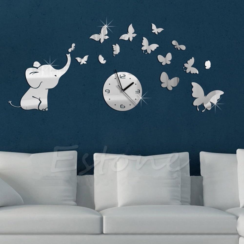 new set d diy elephant butterflies mirror wall decal wall clock
