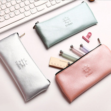 Cute contracted PU Pencil Bag canvas Pencil Case Pen Bag Kawaii Stationery Office School Supplies Korean Stationery