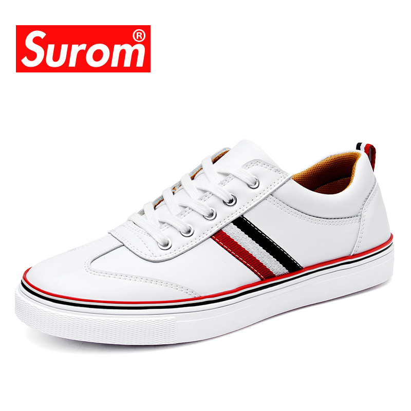 SUROM Fashion Top Brand Mens Leather Casual White Shoes High Quality Spring Autumn Bullock Shoes Man Sneakers Comfortable