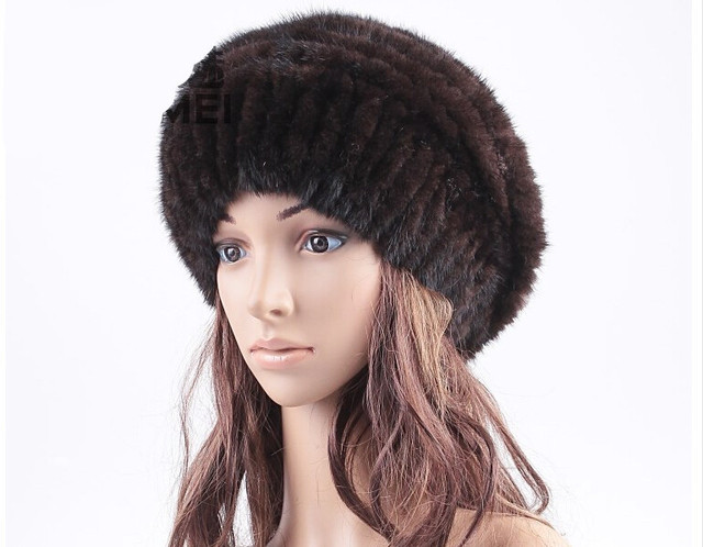 HA115-New 2016 Autumn winter warm knitted beanies with natural mink fur. Black brown female warm mink fur hats