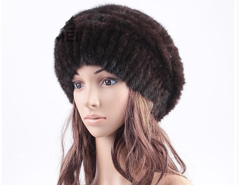 mink fur hats  Autumn winter warm knitted beanies with natural mink fur. Black brown female warm HA115