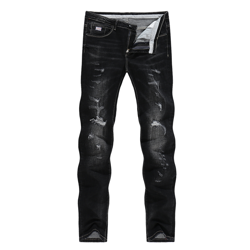 KSTUN Solid Black Jeans Men Autumn and Winter Distressed Stretch Streetwear Ripped Men Casual Pants Slim Hiphop Cowboys Trousers 11