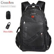 Crossten Швейцарский Военная Униформа армии Дорожные сумки рюкзак для ноутбука 15.6 «17» Многофункциональный школьный Водонепроницаемый Тетрадь сумка для ноутбука