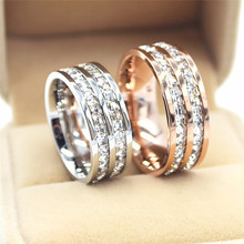 ROXI Fashion Female Double Crystal Zircon Ring Silver & Rose Gold Ring Wedding Band Engagement Rings For Women Jewelry Size5-10(China)