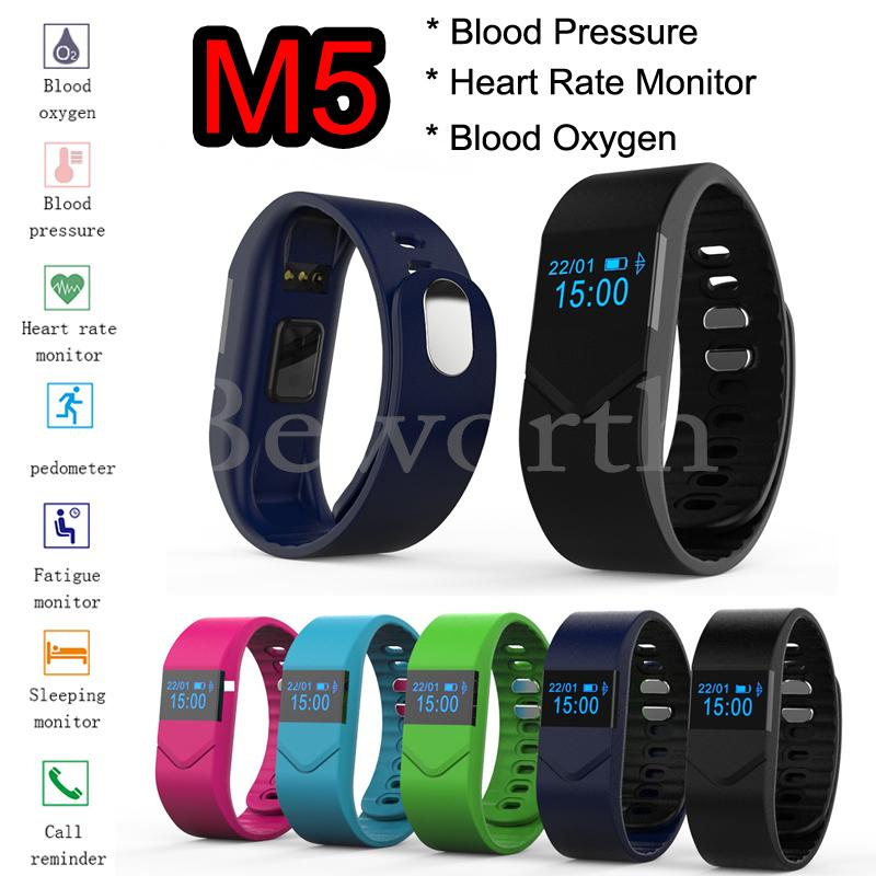 Blood Pressure Blood Oxygen Smartband Heart Rate Monitor M5 Bluetooth font b Smart b font Band