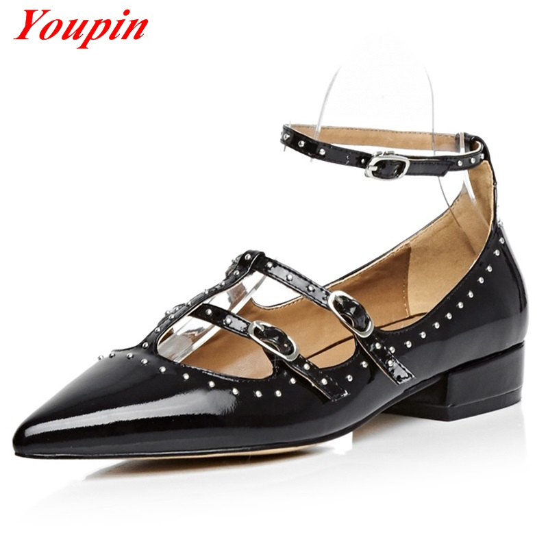 2016 Latest Spring Autumn Shallow mouth Pointed Low heeled shoes Black Buckle Rivets Foot ring strap