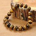 New style Fashion Jewelry Unisex Charm Cuff 10MM Yellow Tiger Eye Stone Men Bracelets & Bangles for Women Girls Best Gift Friend