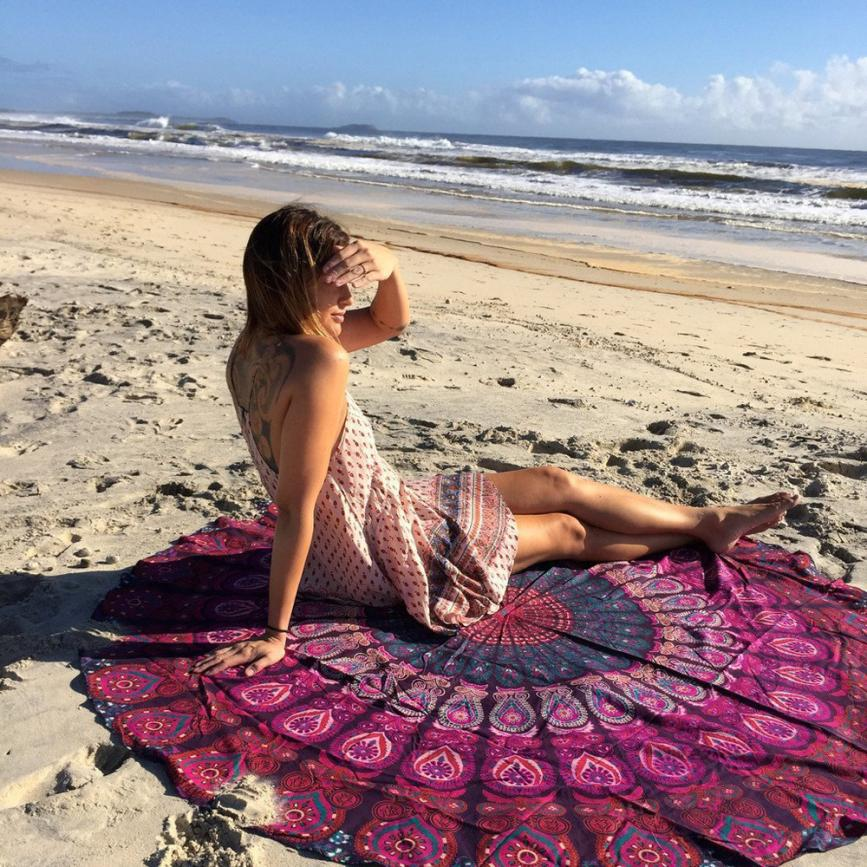 Round Beach Cover Up Pareo Bikini Boho Summer Dress Swimwear Bathing Round large beach towel Holiday Large Printing Bath Towel