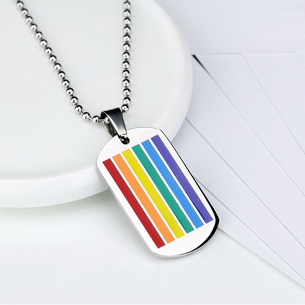 Rainbow Pride Victory Stainless Steel  Colorful Enamel Pendants Chain Long Necklace Women Jewelry Dog Tags