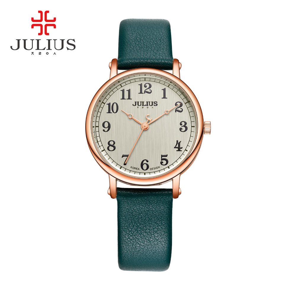 JULIUS Ladies Watches Top Brand Luxury Dark Green Simple Casual Dress Leather Strap Silver Rose Gold Arabic Number Montre JA-949