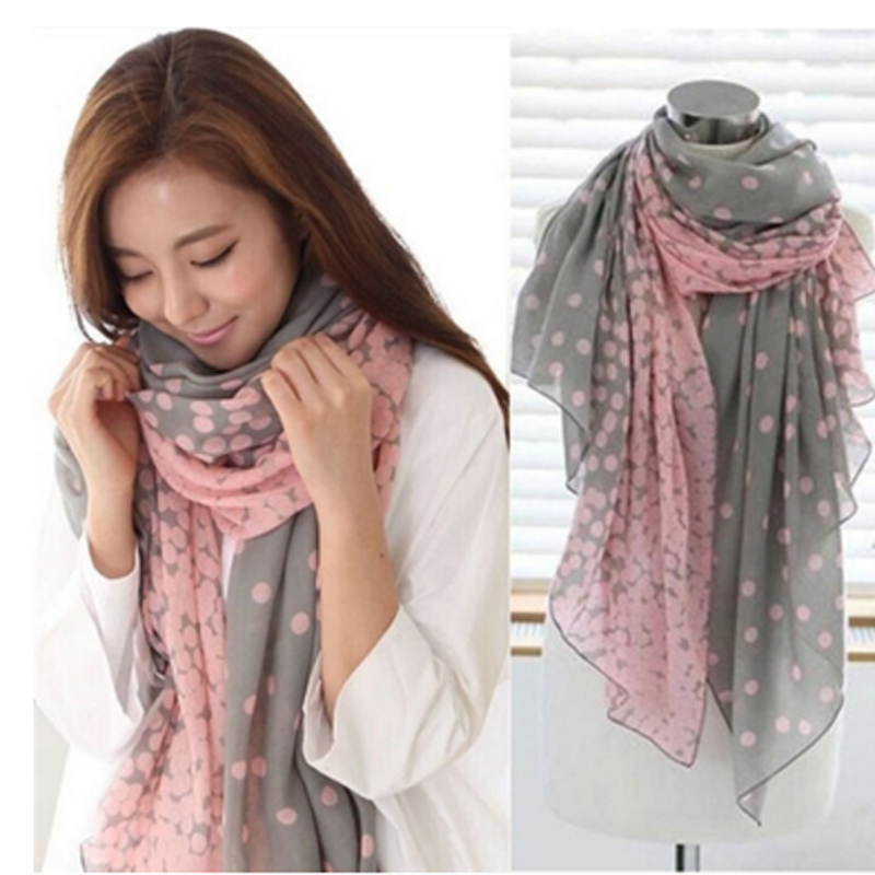 Hot Sell Lovely Fashion Dot Women Scarf Soft Cotton Lady Comfortable Long Neck Large Scarf Shawl Voile Stole Warm Scarves Gift