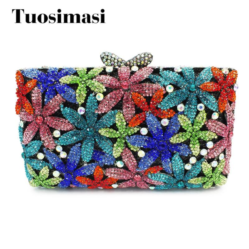 Mutil flower pattern crystal flower shape clutch evening bag stone clutch bag evening party handbag(88128A-C)