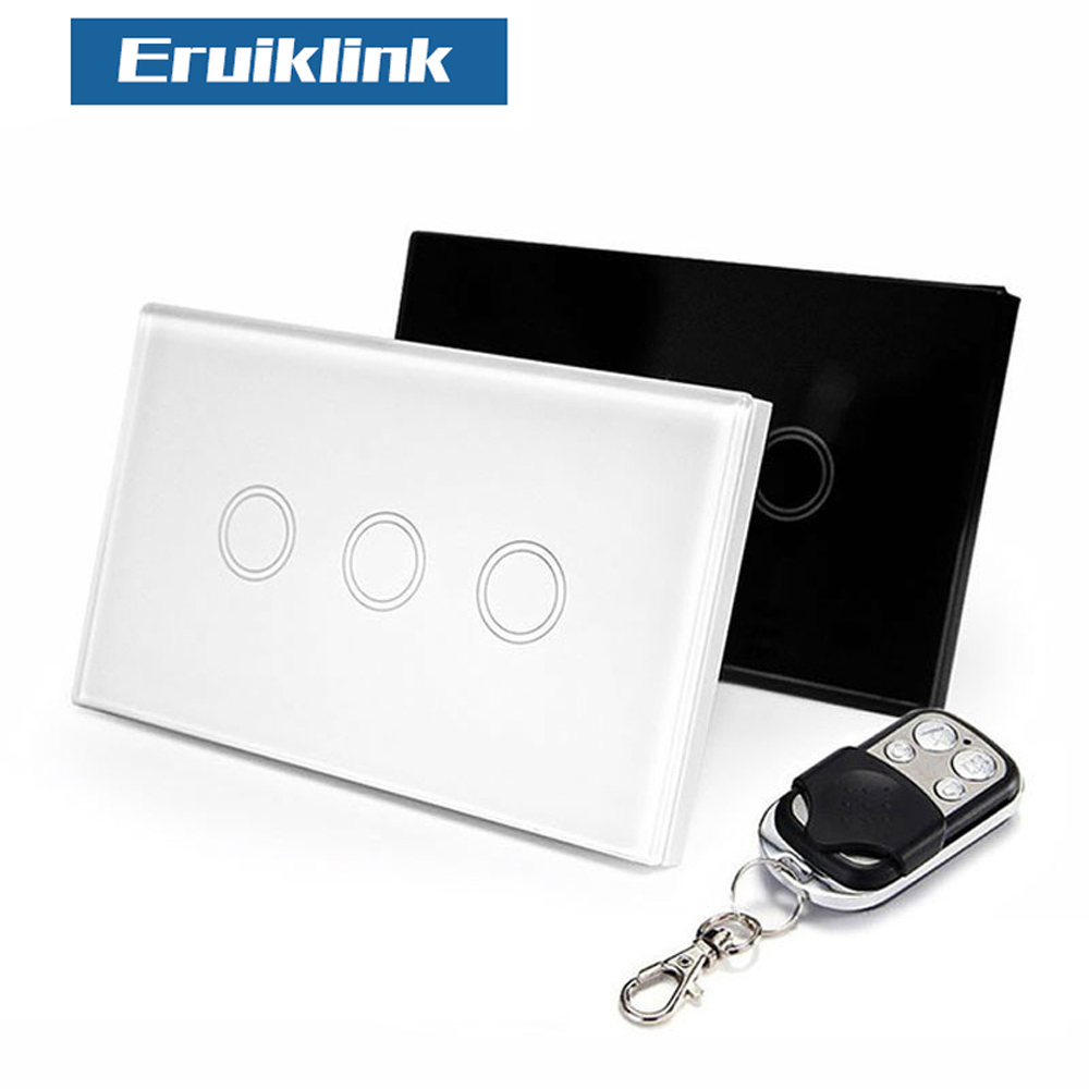 Eruiklink US Standard Remote Control 3 Gang 1 Way RF433 Smart Wall Switch,Wireless Remote Control Light Switch For Smart Home us au standard 2 gang 1 way wireless remote control switch rf433 led wall switch touch light remote switch for smart home