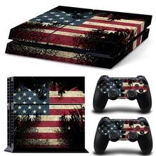 Transporte Da Gota livre de Vinil para PS4 Adesivo Da Pele Para Playstation 4 Console + 2 controlador de Pele TN-P4-10389 bandeira DOS EUA