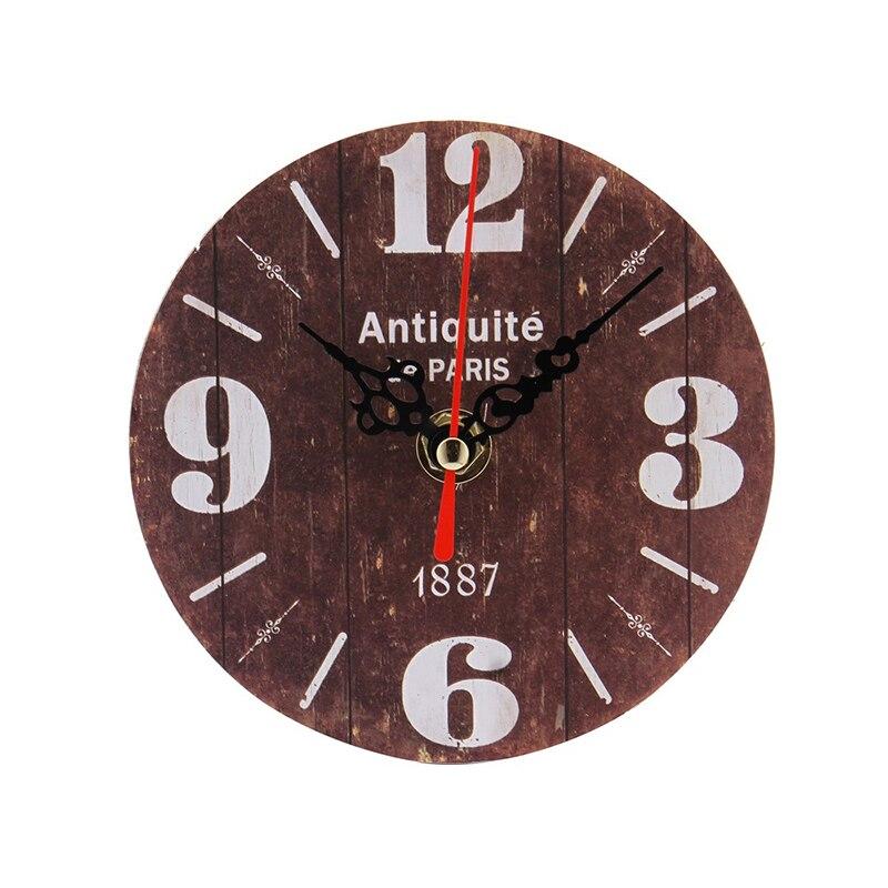 12 cm rétro européenne circulaire en bois horloge Design moderne Vintage rustique minable bureau café décoration