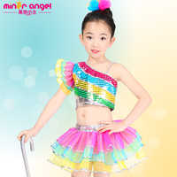 Giornata internazionale del Bambino costumi di danza jazz danza Moderna abbigliamento per bambini imposta Ragazze prestazioni paillettes 110-140 cm