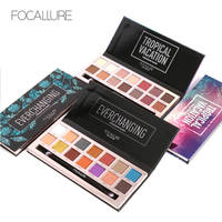 FOCALLURE 14Colors Eyeshadow Palette Matte Glitter Shimmer Tropical Vacation Eyeshadow Palette With Brush