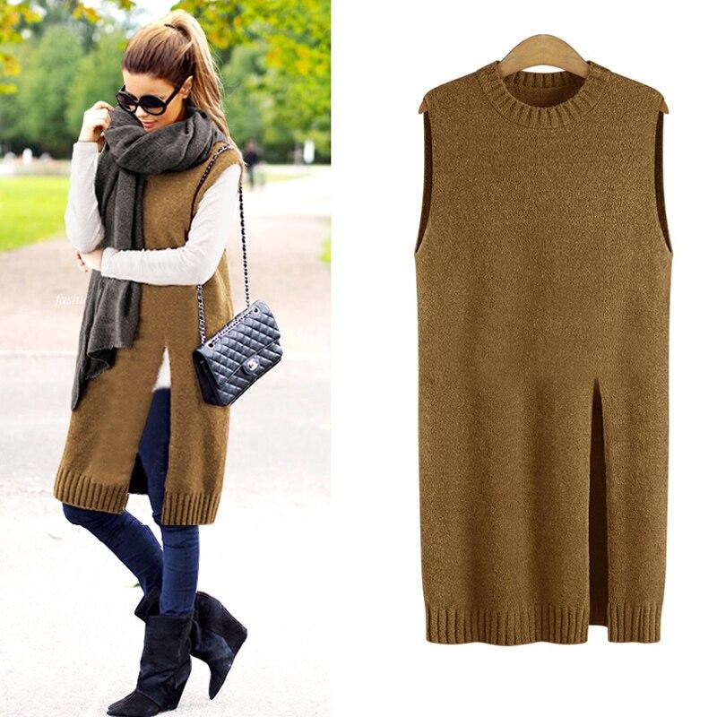 XL 5XL Plus Size Long Sweater Vest Women Knitted Vest Ladies Knit ...