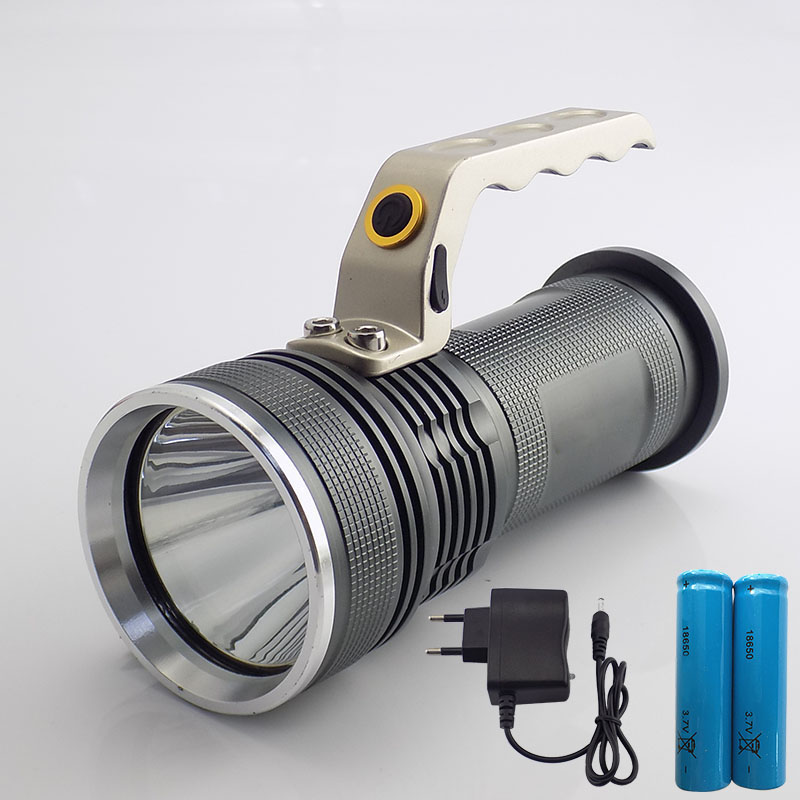Big Size Waterproof XPE T6 Power Search Flashlight Rechargeable Flash Light Torch Lantern For Hunt With 18650 Battery Charger