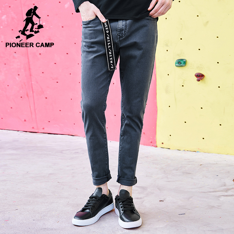 Pioneer Camp skinny jeans men brand clothing new dark grey feet pants male top quality stretch autumn denim trousers ANZ707025 pioneer camp new summer thin jeans men brand clothing casual straight denim pants male top quality denim trousers anz703095