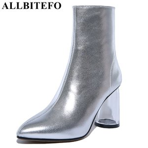 Image 3 - ALLBITEFO Transparent heel thick heel genuine leather pointed toe women boots high heels ankle boots girls boots bota de neve