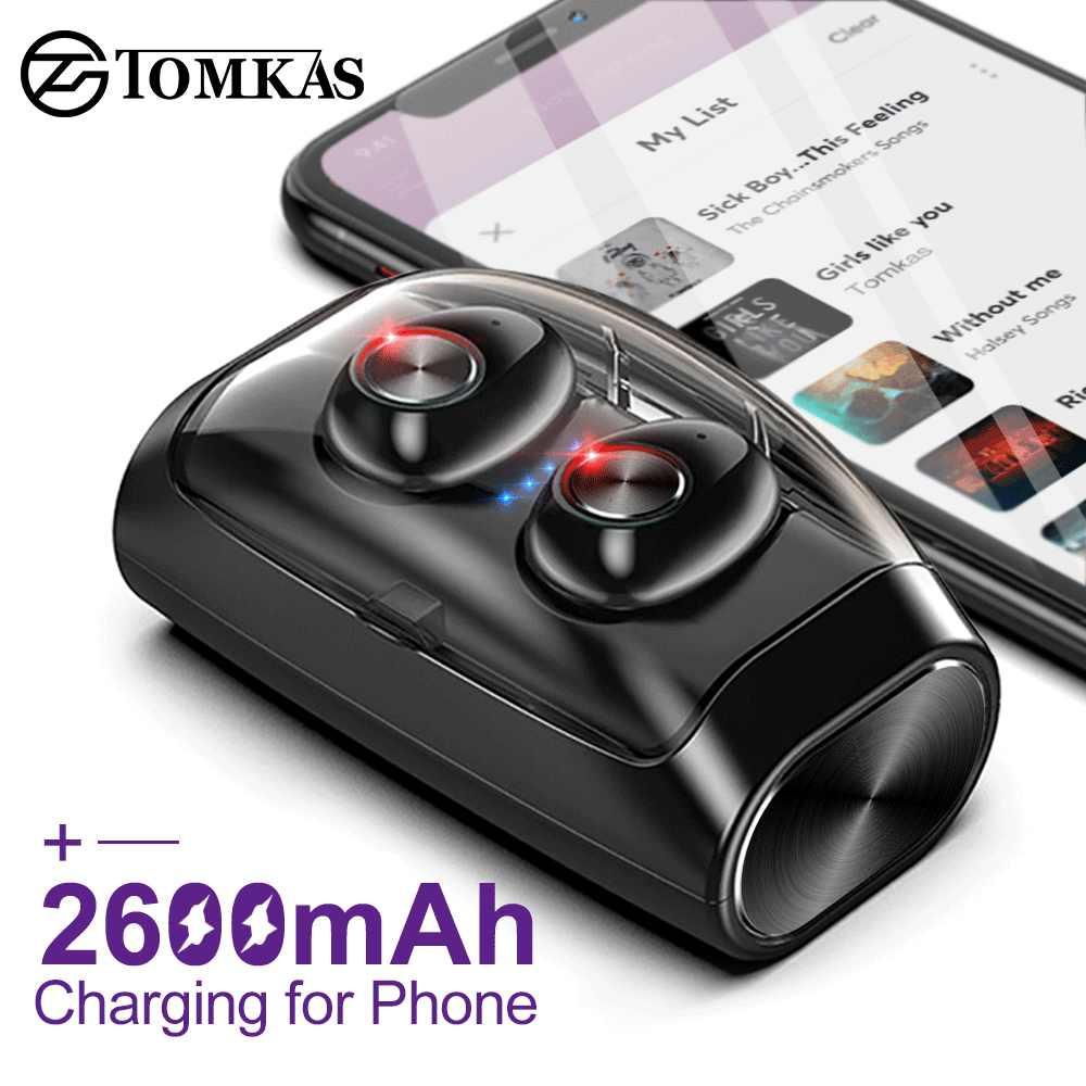 Mini bezprzewodowe słuchawki Bluetooth słuchawki z redukcją szumów douszne TWS słuchawki Stereo z mikrofonem okno ładowania bas słuchawki