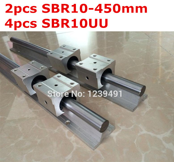 2pcs SBR10  -  450mm linear guide + 4pcs SBR10UU block 1pc sbr10 l300mm linear guide 2pcs sbr10 linear bearing block