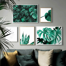 Green plant leaf Monstera Aloe Quotes Wall Art Canvas Painting Nordic Posters and Prints Pictures For Living Room Decor
