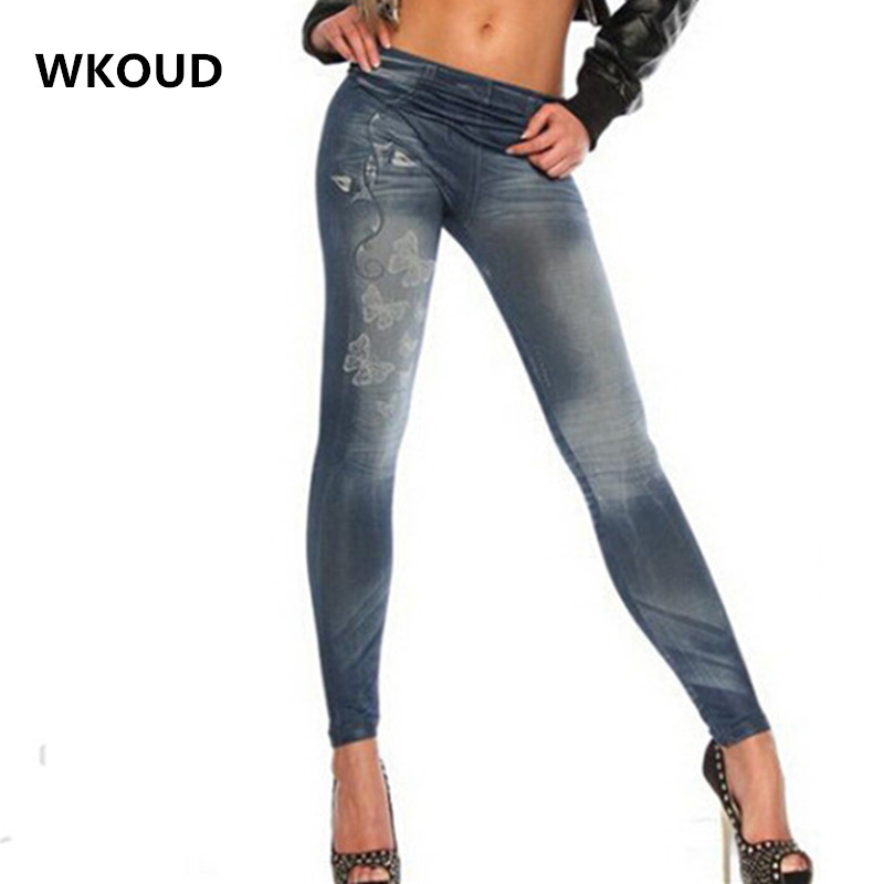 WKOUD Women   Jeans   Leggings Butterfly Printed Leggings Skinny Fake Denim Leggings Female Casual Pants DD8020