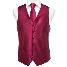 Hi-Tie High Quality Silk Mens Waistcoat Vest Tie Set Classic Party Wedding Red Pocket Square Cufflinks Suit VE-004