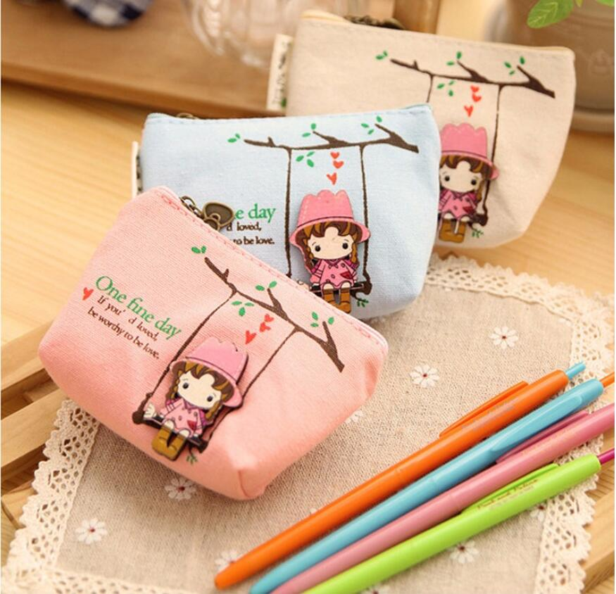 Lovely female mini canvas coin purse cute children's change Purse cheap clutches for girls Kids Zipper sweet collection Wallets