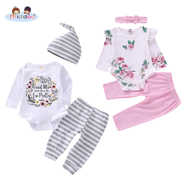 Toddler Baby Boys Girls Sprint Autumn Style Clothes Set Love Heart Floral Print Romper Striped Plaid Pant Outfit