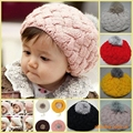 Hot Sell  2017 New Autumn Winter Warm Baby Girls Hat Bonnet Style Kid Crochet Cap Lovely Infant's Headwear  Free Shipping