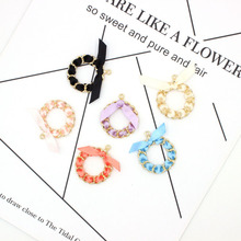 10pcs/lot 36*30mm Bowknot Flowers Round Shape Charms Fit Gift DIY Earring Making Alloy Pendant Handmade Jewelry Accessory YZ444