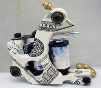Good US Dollar Design Tattoo Machines 10 Wrap Coils Cast Iron Tattoo Gun For Shader Liner